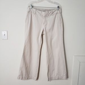 Gap khaki pants wide leg floral waist band